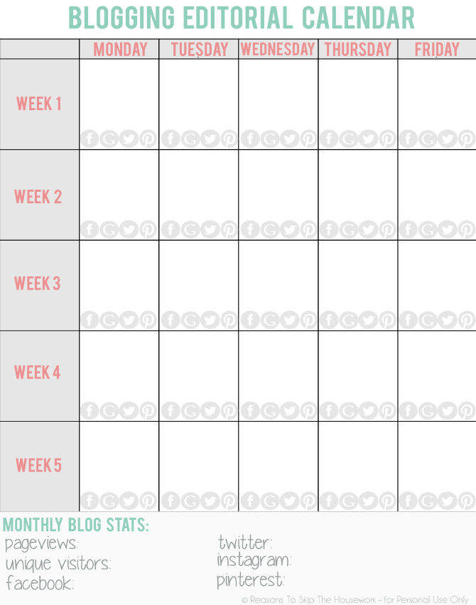 create a blog calendar | All the Buzz